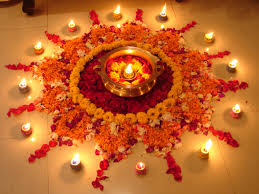Diwali Diya Decoration with flowers
