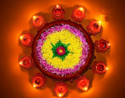 Diya Decoration using flowers